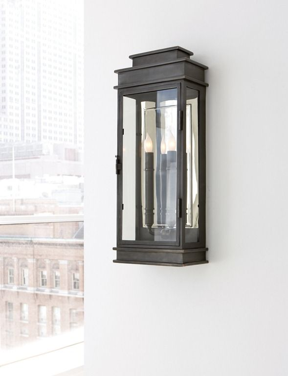 Tall Linear Lantern Designer Sandy Chapman Circa Lighting Stairwell Option Exterior Light Fixtures Outdoor Light Fixtures Visual Comfort Lighting