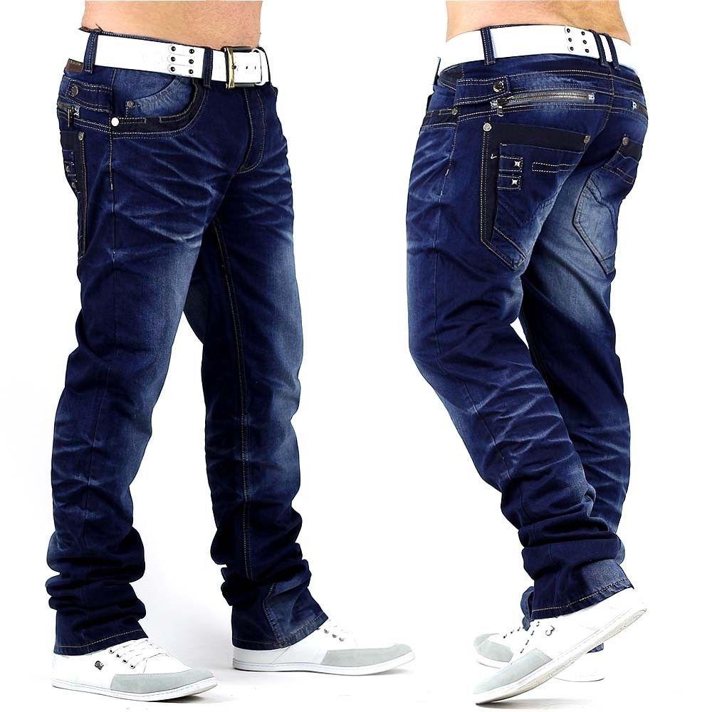 Neu Herren Jeans Hose SLASHHAMMER DE2 Style dicke Nähte
