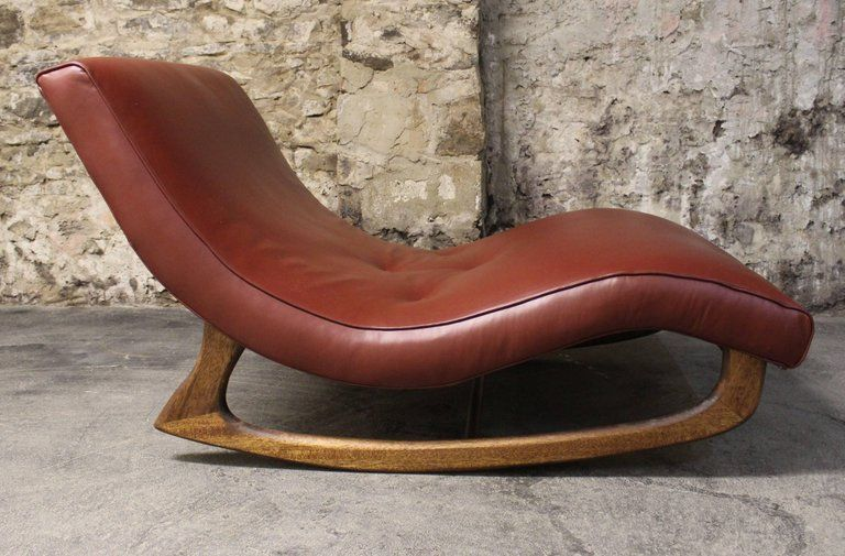 adrian pearsall rocking chair ikea childrens desk and set mid century modern wave chaise by this has been newly upholstered in leather a wide profile walnut frame