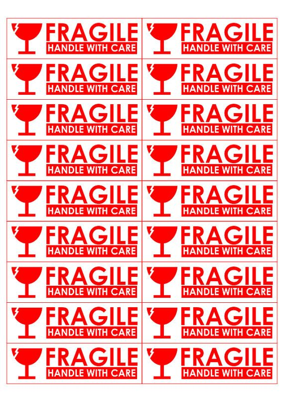 Printable Sticker A4 Sized 18 Sticker of Fragile Handle by vecprin - free printable shipping labels