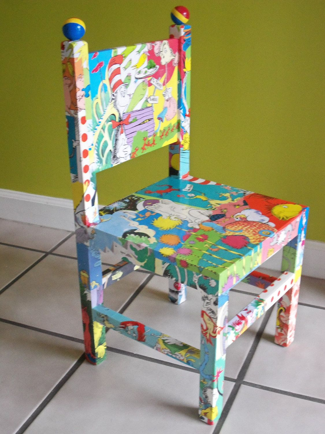 Dr Seuss Chair Spandex Covers Party City Custom Order Inspired Decoupaged Wood