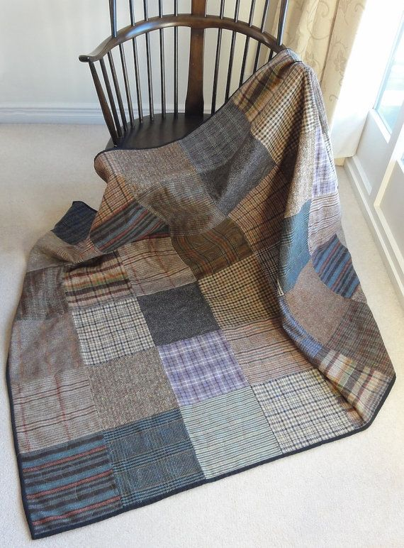 Reduced To Clear Woollen Patchwork Quilt Layered Tweed