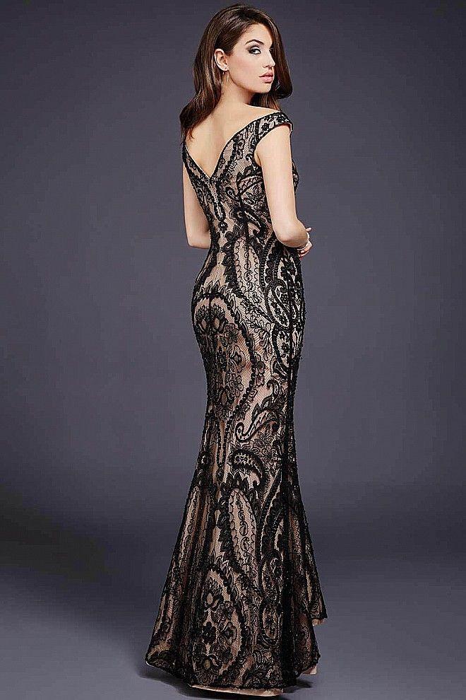 Black Nude Lace Floor Length Dress 33937 | dream wedding | Pinterest