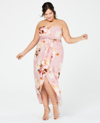 f6af11bb182 City Chic Trendy Plus Size Strapless Floral-Print Maxi Dress in 2019 ...