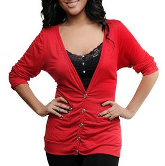WOMEN'S PLUS SIZE BUTTON FRONT CARDIGAN WITH POCKETS