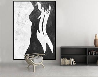 Photo of deer antler abstract painting large Black and White art, modern original Painting on canvas, large Abstract Painting, large wall Art,