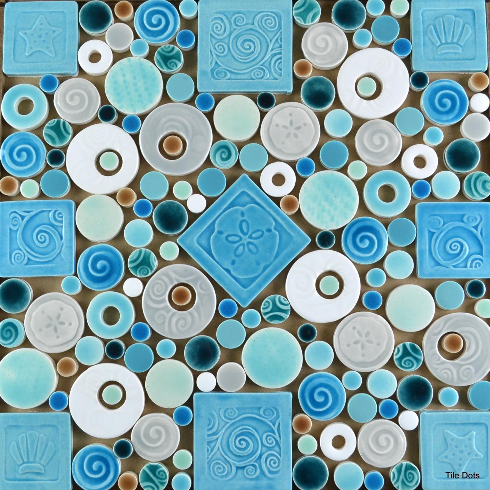 Seaside Dots Handmade Ceramic Tile Mosaic Ready To Install 12