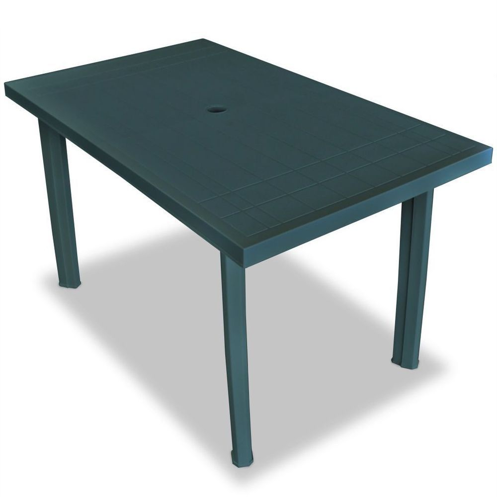 Plastic Garden Table Green Colour Rectangular Outdoor Patio