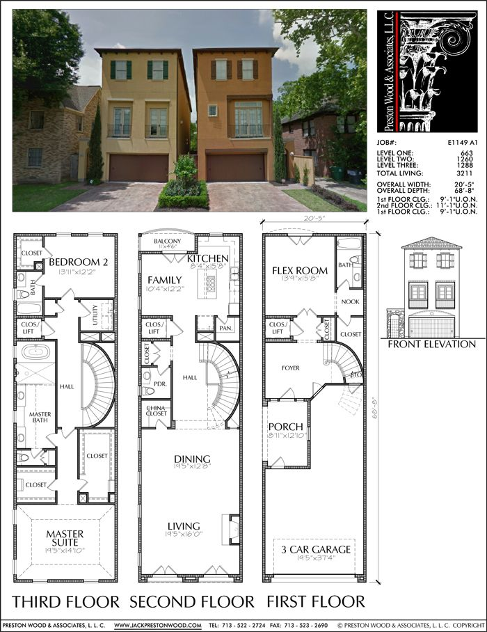 Three Story Townhouse Plan E1149 A Narrow House Plans Dream House Plans Small House Plans