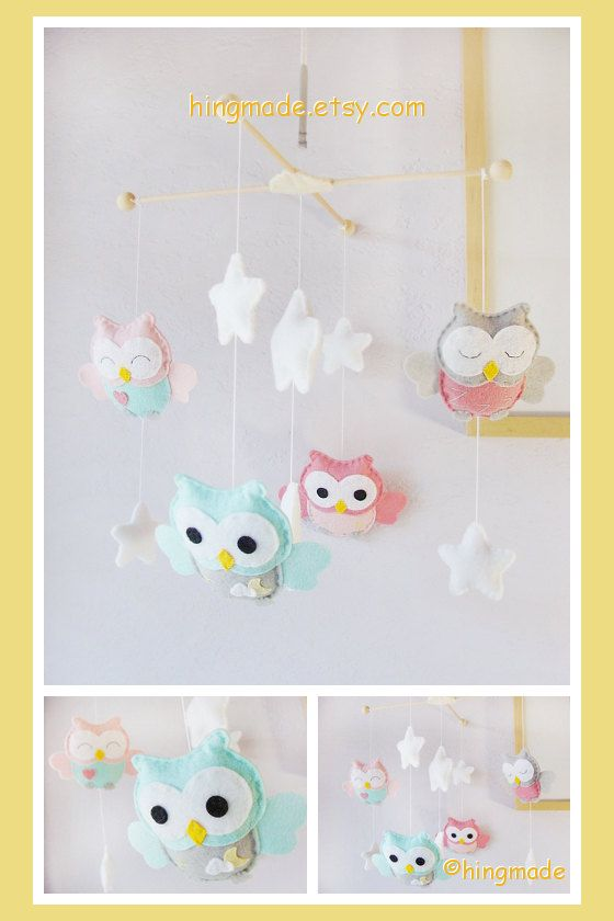 Baby Mobile Owl Nursery Soft Pink Gray Turquoise Owls In A White Starry Night