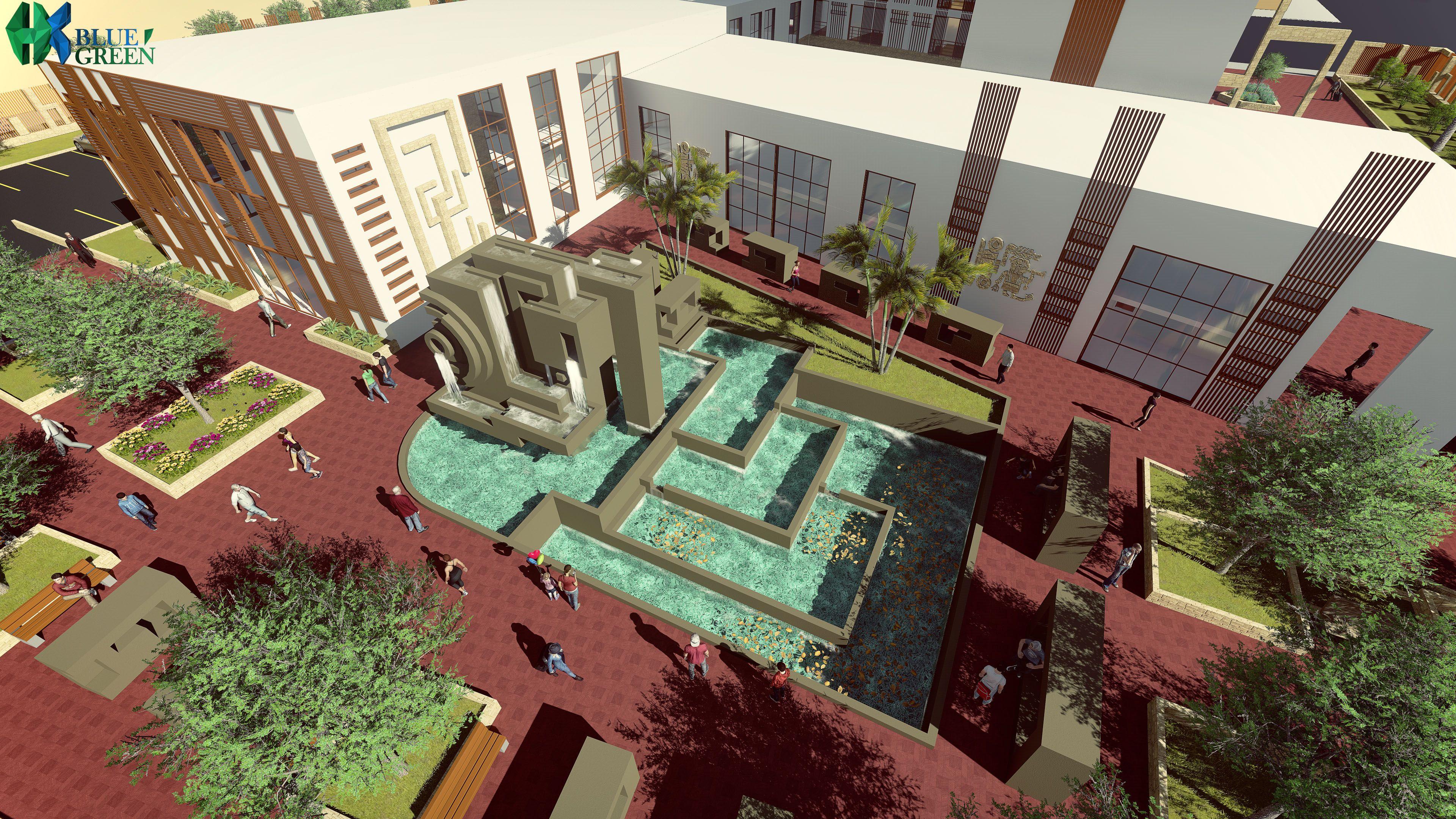 Centro de Ocio Nocturno - HKBLUEGREEN. Proyecto que consta de Discoteca, Karaoke, Casino y Hotel. Proyecto de Taller 7 Facultad de Arquitectura UPN para la nueva Ciudad de Olmos