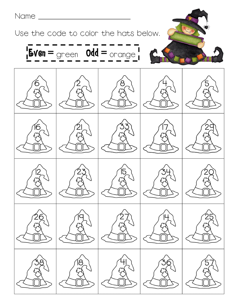 worksheet Even And Odd Worksheets For 2nd Grade halloween evens and odds worksheet mama school pinterest a simple themed math if students are older they can do the as is younger though