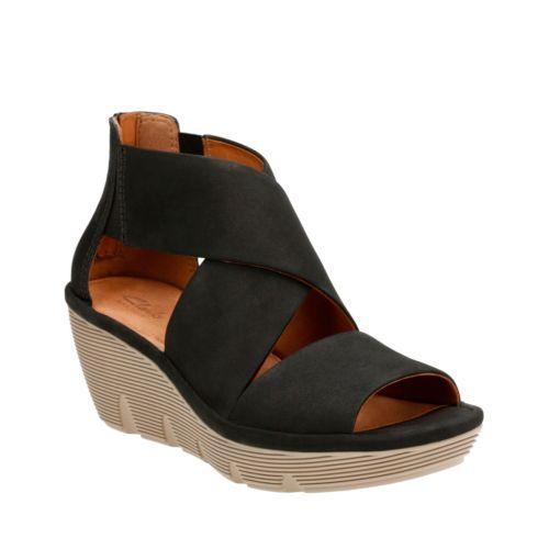 Clarene Glamor Black Nubuck womens-sandals-wedge