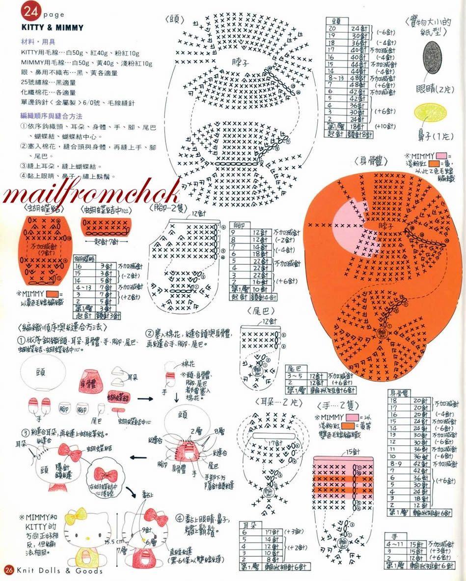 japanese chart hello kitty amigurumi | CROCHeT | Pinterest | Bordes ...