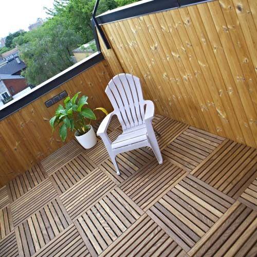 Sterling Roof Top Tile 2 Inch Black Hardwood Decking Patio