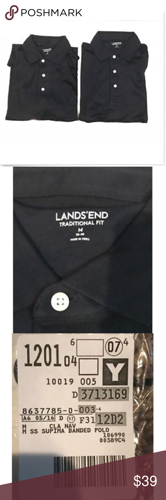 4308070b35a 2 Lands End Mens Supima Banded Polo Shirts 2 LANDS END Men s Tailored Fit Short  Sleeve Classic DARK Navy Supima Polo Shirt in a size Medium (38 40) that is  ...
