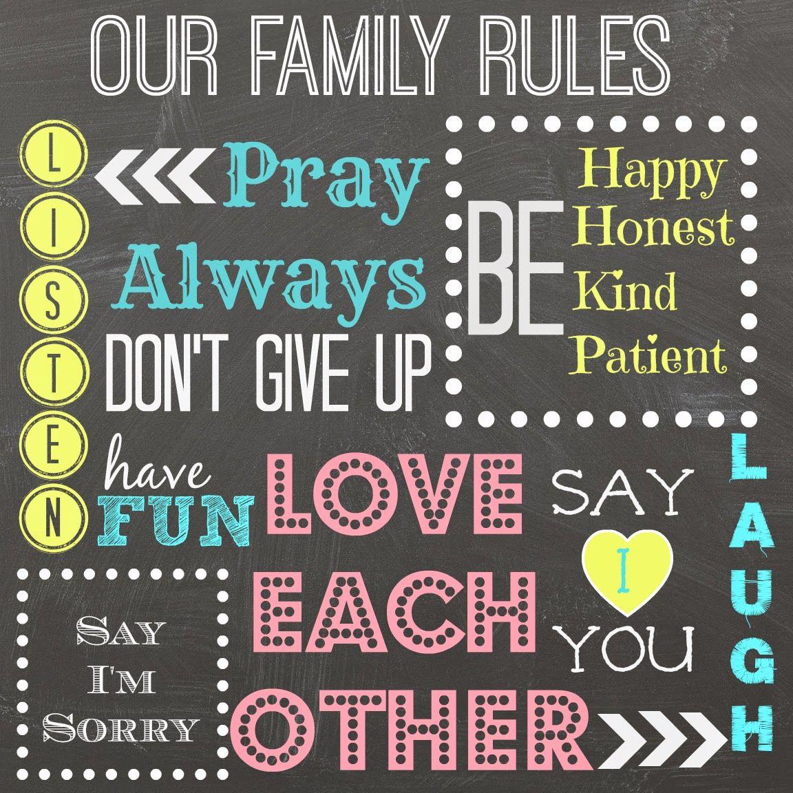 Family Rules Free Printable Mimileeprintables