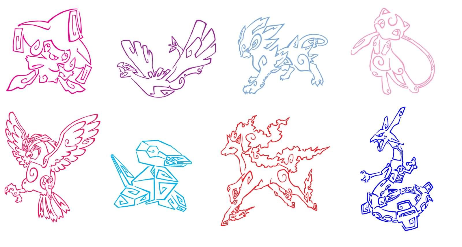 Colorful Outline Legendary Pokemon Tattoo Designs Pokemon Tattoo Tribal Pokemon Pokemon
