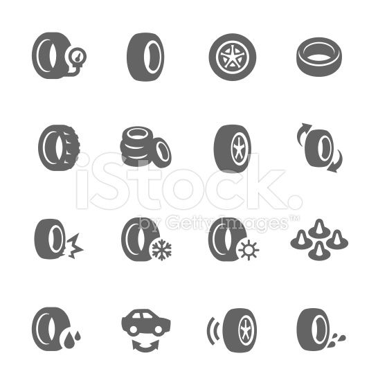 simple set of tire related vector icons for your design vector