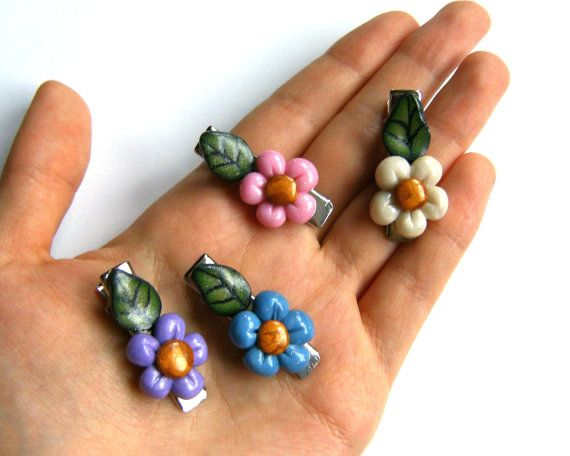 4 little colorful spring flowers hair clips in by VeraCreations, €6.00