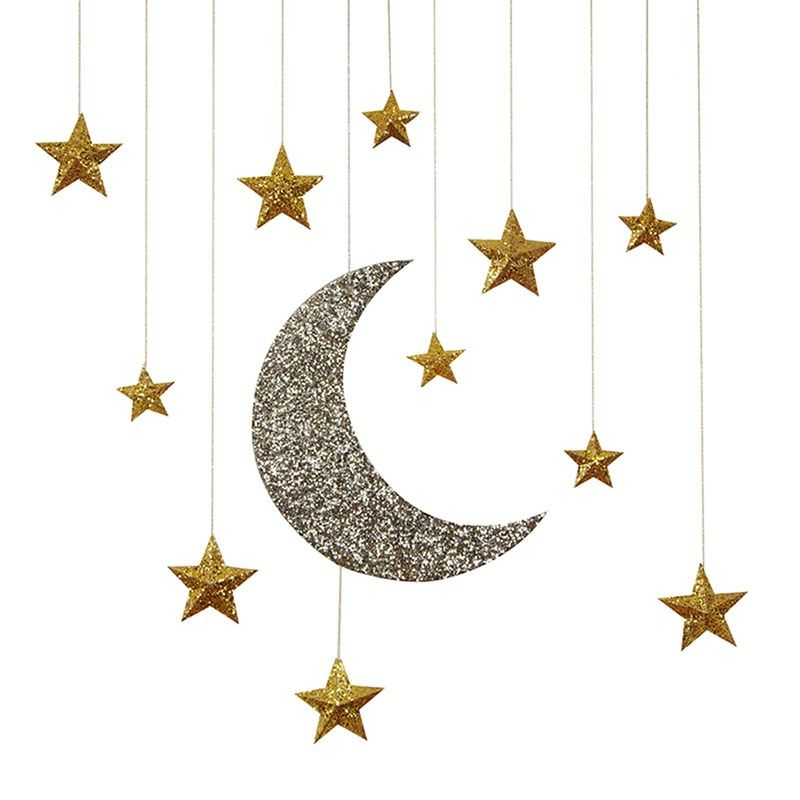 glitter moon stars hanging decorations sam 39 s shower