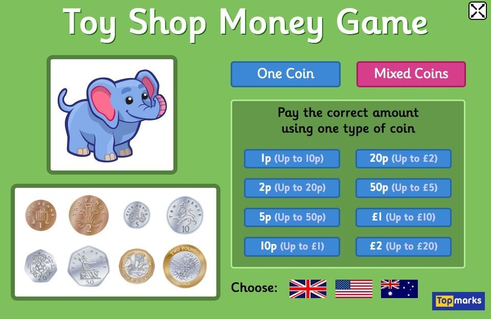 Toy Shop Money Game (EUR) - 4 to 11 year olds - Topmarks | Money games for  kids, Money games, Money activities