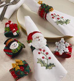 Bucilla - Felt - Home Decor - Christmas - Napkin Ring Set   Plaid Enterprises