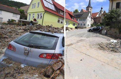 Vor drei Monaten war in Braunsbach die Zerstörung durch eine Schlammlawine noch…