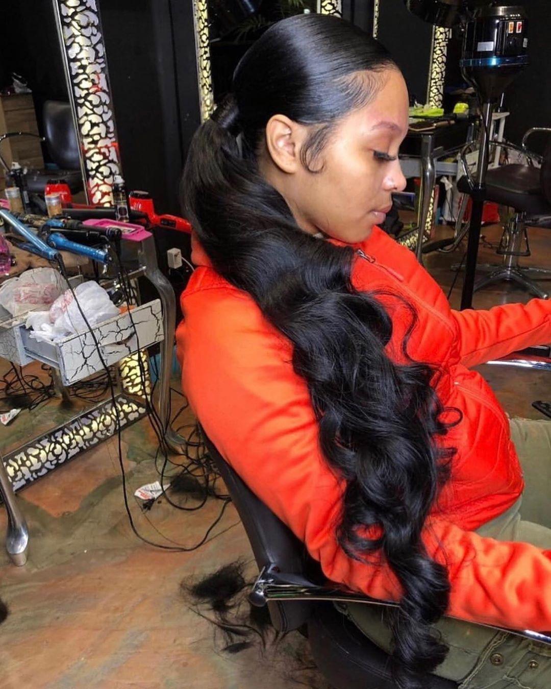 Lob Hair Prom Hairstyles Cute Hairstyles Hair Scrunchie Winterformal Hairstyles Hairstyles Short Sha In 2020 Weave Ponytail Hairstyles Hair Styles Sleek Ponytail