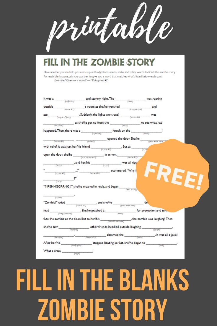 Fill In The Zombie Story Printable Grammar Reading Partsofspeech Fillintheblanks Wordpuzzles Roadgames Learninggames Madlibs Printables Pendidikan [ 1102 x 735 Pixel ]