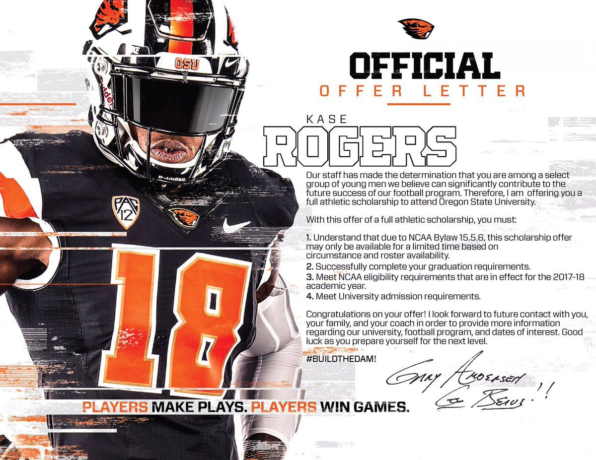 Oregon State College Football Recruiting Athletic Scholarships Oregon State