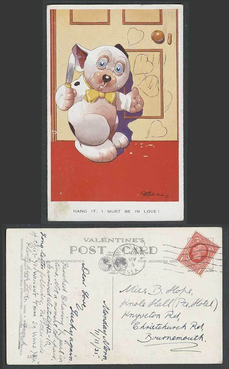 BONZO DOG GE Studdy 1935 Old Postcard Hang it I Must Be In Love Knife Heart 2287 | eBay