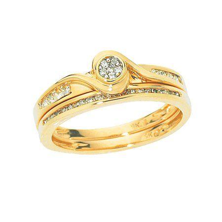 1 4 Carat Of Diamonds 9ct Gold Bridal Ring Set Aneis