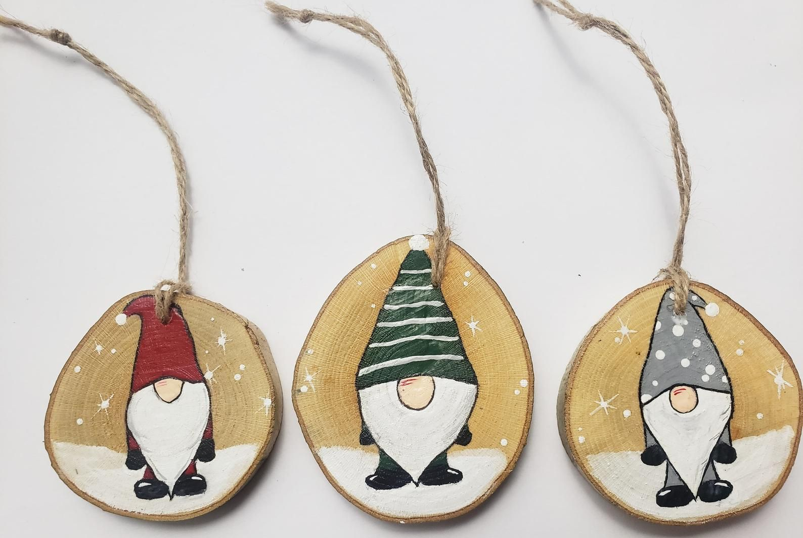 Hand Painted Christmas Gnome Wood Ornaments Wood Slice Etsy Christmas Crafts For Gifts Wood Christmas Ornaments Christmas Decorations Ornaments