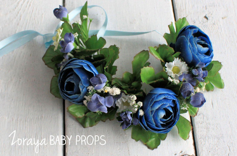 Flower crown newborn propsblue flower tieback baby propblue flower crown newborn propsblue flower tieback baby propblue headband izmirmasajfo