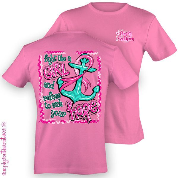 086ab2812 Simply Southern Funny Anchor Hope Fight Breast Cancer Pink Ribbon Chevron  Girlie Bright T Shirt Available in sizes- Adult S,M,L, XL, 2X