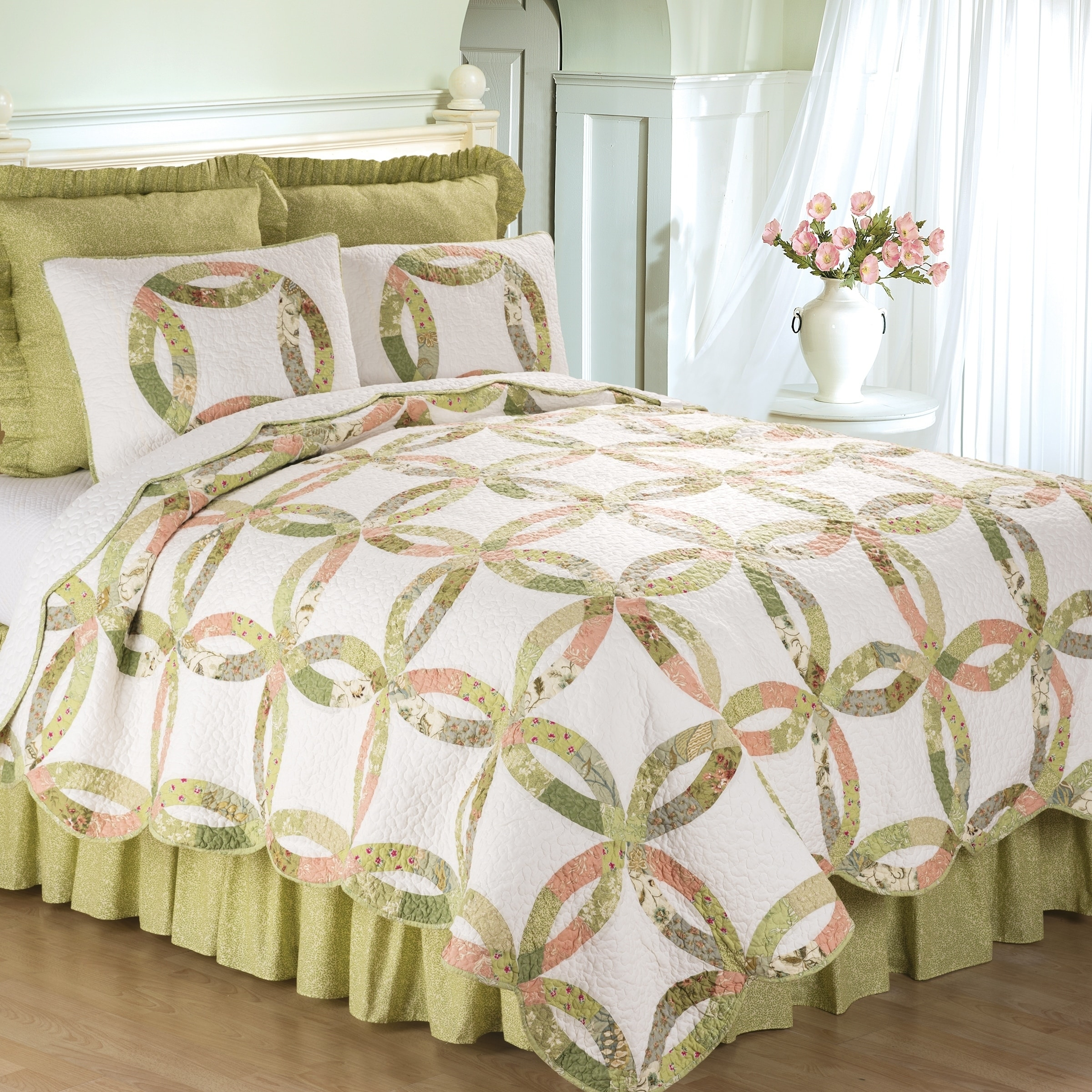 Quilt Sets Annie S Wedding Ring Quilt Set King 3 Piece Green