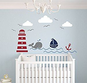Nautical Theme Wall Decal Decor Nursery Whale And Sailboat Vinyl Baby Co Uk Kitchen Home