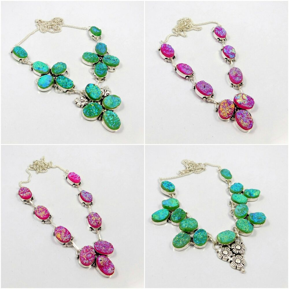 Green pink crystal druzy 925 silver plated necklace