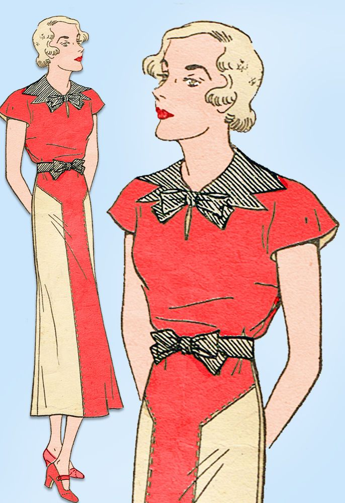 1930s Vintage Excella Sewing Pattern 4108 Misses Street Dress Size 20 38 Bust #Excella #StreetDressPattern