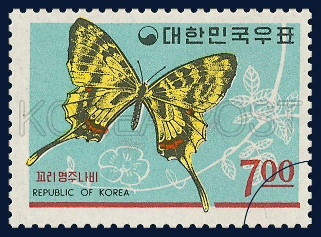 POSTAGE STAMP OF FAUNA, Sericinus montela, Insect, Turquoise, Yellow, black, 1966 09 15, 동물시리즈(3), 1966년09월15일, 524, 꼬리명주나비, postage 우표