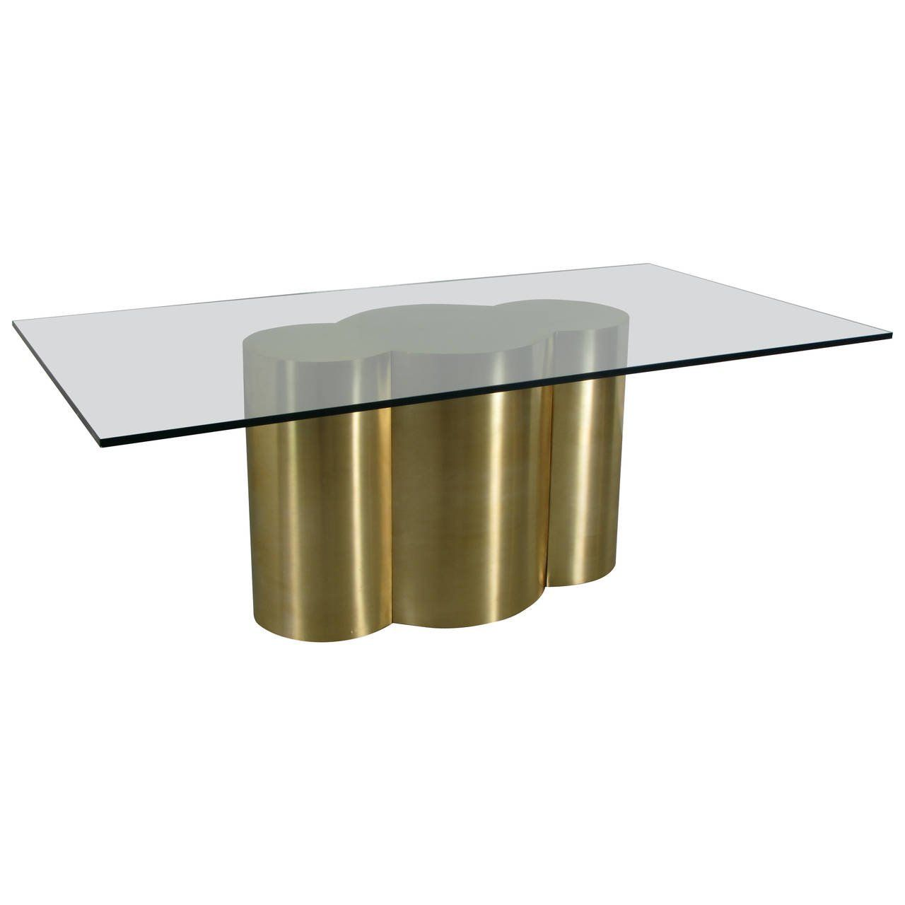 Custom Quatrefoil Dining Table Base In Polished Brass By Refine