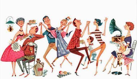 Retro Midcentury Bbq Cartoon RETROAGOGO Pinterest - Backyard bbq party cartoon