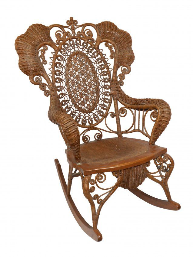 Beautiful 1039: Furniture, Victorian Wicker Chair W/rolled Arms, : Lot 1039