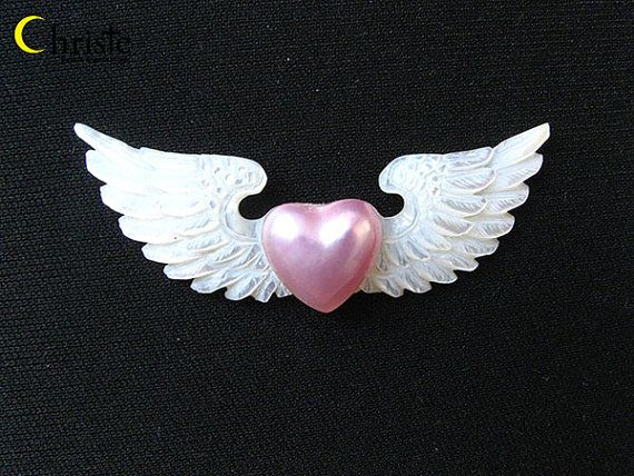 Pink Heart Mabe on Mother of Pearl Wings 18x60mm