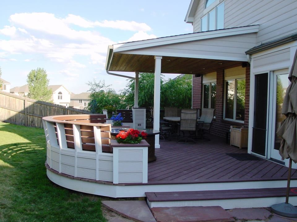 Trex deck with benches  Halliday Built Decks  Porch