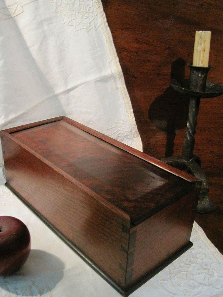 Exceptional Antique 1800s Walnut Smoke FLAME Grain DOVETAILED Slide CANDLE Storage BOX  AAFA