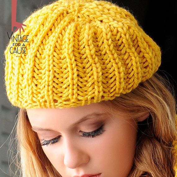 yellow beret 100% delicious by Vinntagefac on Etsy