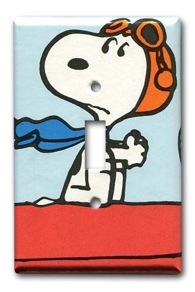 Snoopy Vs The Red Baron 1970s Vintage Wallpaper Switch Plate