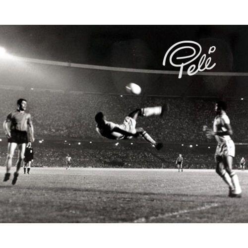 Pele Autographed '1965 Bicycle Kick' Black & White 8x10 Photo